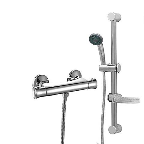 ENKI Thermostatic Shower Set Bar Slider Kit Handheld Head Soap Dish Standard (Anti Scald Dispositivo)