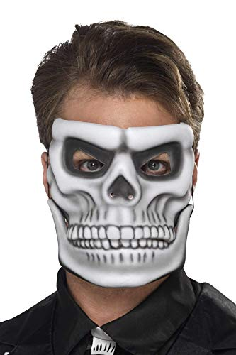 Smiffys Herren Tag der Toten Skelett Gesichtsmaske mit beweglichem Kiefer, One Size, Weiß, 44919