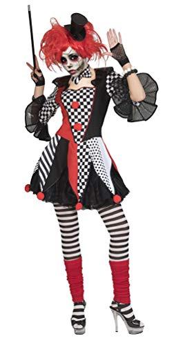 Karneval-Klamotten Horror Clown Kostüm Damen Horror Narr Kostüm schwarz weiß rot Halloween Damen-Kostüm Größe 36/38 (Und Schwarz Weiß-narr)