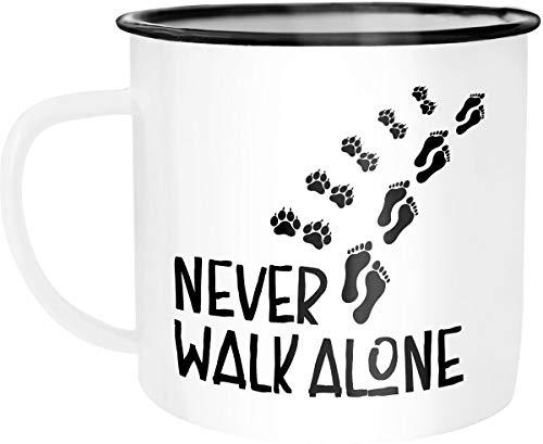 Moonworks Emaille Tasse Becher Never walk alone Hund Hundebesitzer Dog Kaffeetasse weiß-schwarz...