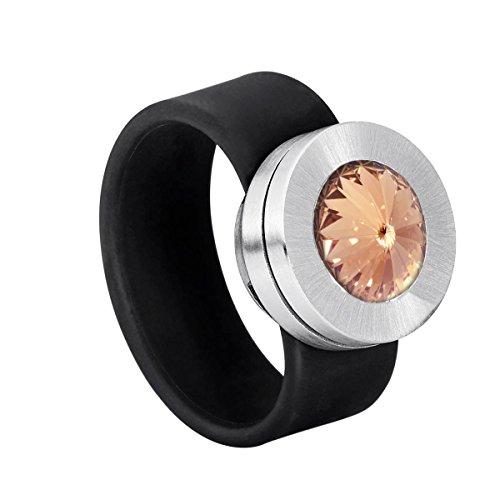Heideman Ring Damen aus Edelstahl mit Swarovski Stein Kristall Light Peach im Fantasie Edelsteinschliff