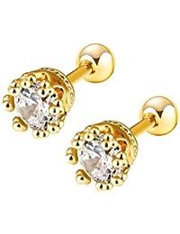 777d510deb5d HIJONES Mujer Acero Inoxidable Plata Oro Tono Flor Bud Aretes Stud Con  Brillante Circón Cúbico
