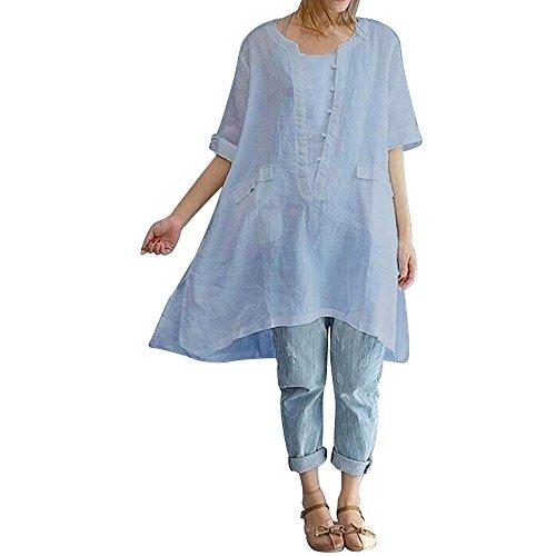 OverDose Damen Casual Übergröße Unregelmäßige Mode Lose Leinen Kurzarm Shirt Vintage Bluse Fest Hemd Lang Tank Tops T-Shirt Freizeit Oberteile ()