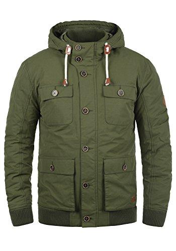 BLEND Ciro Herren Übergangsjacke leicht gefütterte Jacke mit Kapuze und zahlreichen Taschen aus hochwertigem Material, Größe:M, Farbe:Ivy Green (77026)