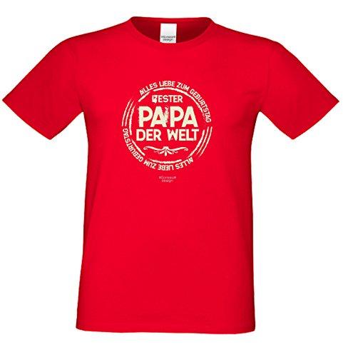 Herren Sprüche Fun T-Shirt wunderschönes Geburtstags-Motiv-Geschenk Bester Papa der Welt für Ihren Vater auch 3XL 4XL 5XL Farbe: rot Rot