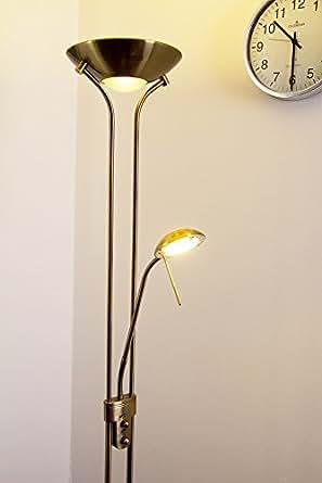 luminaire sur pied en vieux laiton led intensit variable luminaires et eclairage. Black Bedroom Furniture Sets. Home Design Ideas