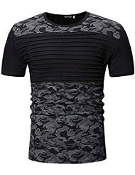 4b5df08cc BOBOLover Camiseta de Camuflaje Hombre Militares Camisetas Deporte  Camuflaje Informal Estampado O Cuello Pullover Camiseta de