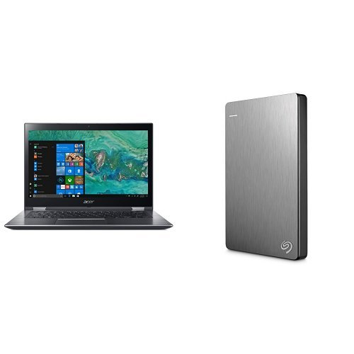 Acer Spin 3 14-Inch Convertible Notebook (Intel Pentium Processor, 4 GB RAM, 1 TB HDD, Intel HD Graphics 610 Graphics, Windows 10 Home) + 2TB Seagate Backup Plus Slim External Hard Drive