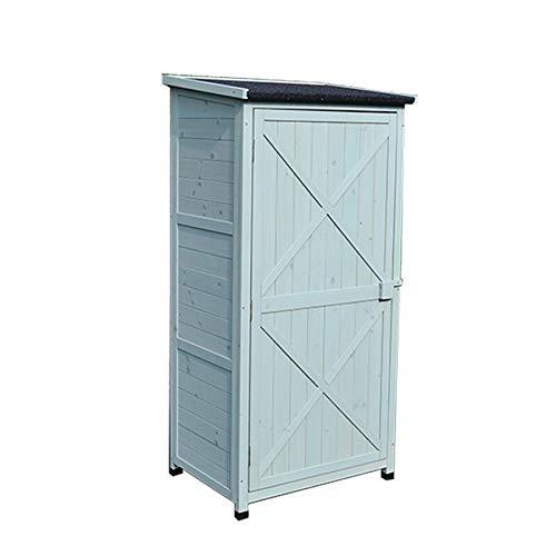 yishelle-sports armadio porta attrezzi outdoor in legno strumento cabinet storage shed 3-tier removeable shelf for balcone giardino patio con la scheda sided per giardino esterno