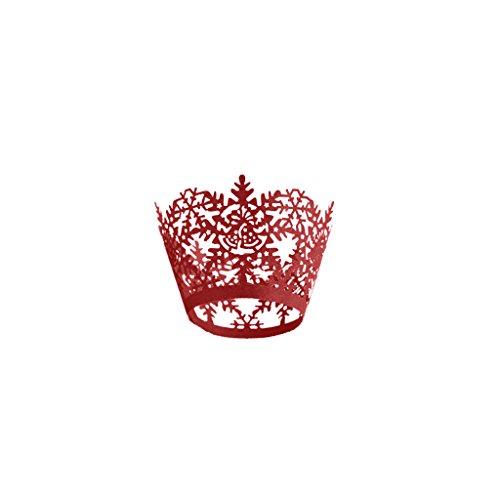 Blesiya 50 Stück Weihnachten Dekor Papier Cupcake Wrapper Muffin Hüllen mit Spitze für Hochzeit, Geburtstag, Verlobung, Halloween Party Deko - Rot, One size