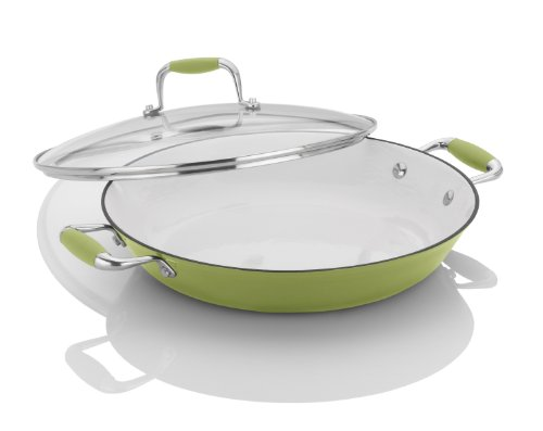 Michelle B. by Fagor Cast Iron Lite Chef's Pan with Lid, Lemon Lime, 12 by Michelle B. by Fagor