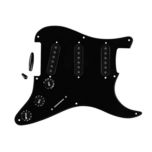 FLEOR Scratch Plate 8 Löcher SSS Pickguard mit 50mm 52mm (2Stk) Pickup Covers 2T1V Steuerknüppel Switch Tips Gitarrenteil für Fender Strat Ersatz, Schwarz (Schwarz Stratocaster Pickup Covers)