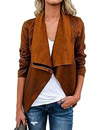 fbf1a58cfd44f Donna Outerwear Moda Vintage Camoscio Cappotto Corto Manica Lunga Bavero  Eleganti Casual Chic con Cerniera Primaverile Giacca…