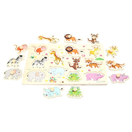 Animal Wooden Puzzle,Animals Cartoon Jigsaw Puzzle,Wooden Peg Puzzles,Educational Jigsaw,Colorful Wooden Animals Educational Jigsaw Puzzles,Learning & Educational Game Toy for Kids