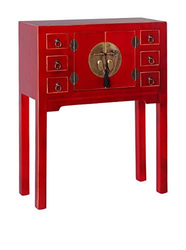 Consola 6 cajones 2 Puertas Oriental roja Madera salón