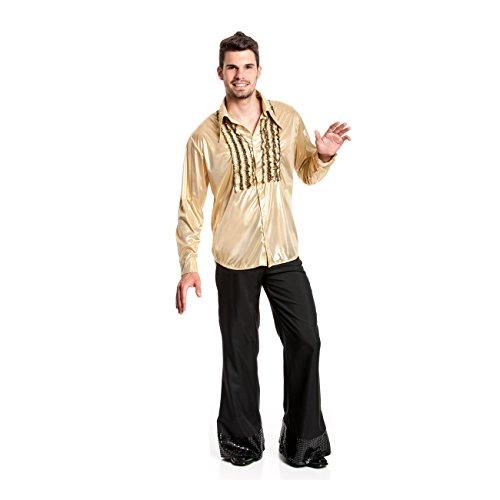 Kostümplanet® Rüschenhemd gold Herren Rüschen-Hemd Größe 56/58 (Rüschen Gold)