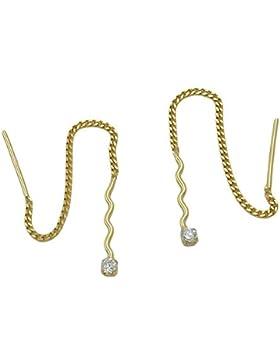 Ohrringe Ohrhänger Durchzieher Welle mit Zirkonia 333 Gold Gelbgold Damen
