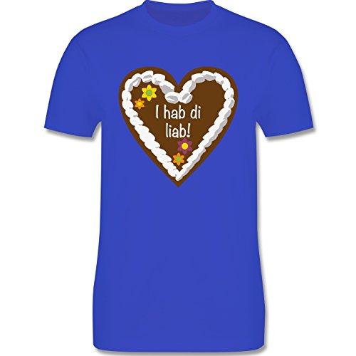 Oktoberfest Herren - Lebkuchenherz I hab di liab - Herren Premium T-Shirt Royalblau