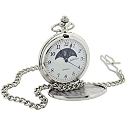 Jakob Strauss Silvertone Sun & Moon Gents Pocket Watch + 12 Inch Chain JAST53