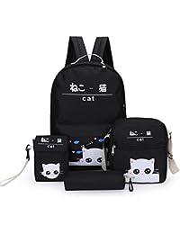 782284797b Zaino Donna 4PCS / Set Zaino Giappone e Corea del Sud Cute Cartoon Cat Borsa  a Tracolla Piccolo Fresco Stile Preppy…