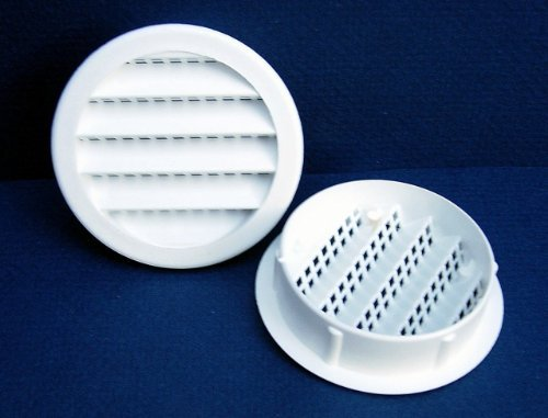 Maurice Franklin Louver-2 Round White Polypropylene Plastic Louver with Insect Screen System (Priced Per Bag of 6). Item #2 PLW-100 by Maurice Franklin Louver