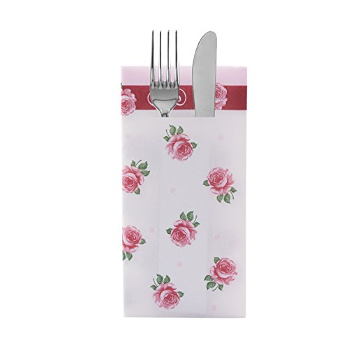 Sovie Home Airlaid-Besteckservietten ROSITA/ 40x40 cm / hochwertige stoffähnliche Einweg-Servietten als Bestecktasche / ideal für Hochzeit & Partys (Rosa)