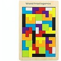 Elsatsang Tangram Legno Colorato Giocattoli in Legno Tetris intelligenza giocattolo in legno Tangram Jigsaw Tetris blocchi di formazione educativa per i bambini Toddlers