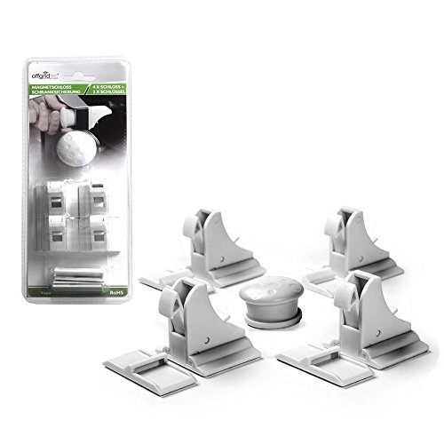 Offgridtec 009690 Magnetschloss Kindersicherung Schrankschloss, 4 Schlösser + 1 Schlüssel, weiß