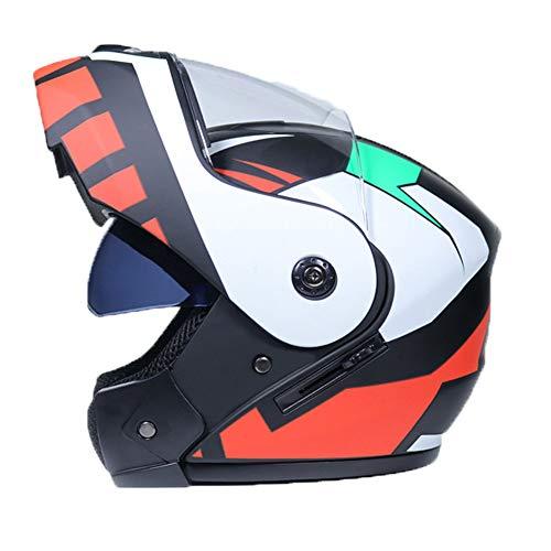 FAFC Casco modulare Professionale per Moto da Corsa, con Apertura Integrale, Apertura Integrale, con Certificazione DOT, per Uomini, Donne, Adulti e Ragazzi, x-L
