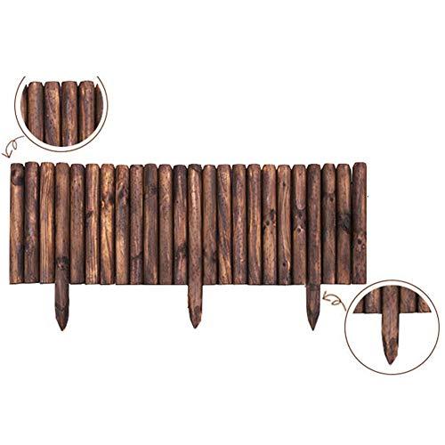 JIANFEI-weilan Holz Zaun Gartentor Gartenzaun Steckzaun Home Decoration Verkohltes Holz Blumenbeetkante Pflanzen Schützen, 8 Größen, 2 Arten (Color : A-Brown, Size : 45x120cm)