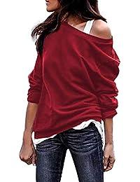 Vovotrade ❤ Spalla in Rilievo Solido Top, Autunno e Inverno Girocollo Camicia a Maniche Lunghe t-Shirt da Donna Una Spalla di Grandi Dimensioni
