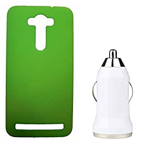 Toppings Hard Case Cover With Car Charger For Asus Zenfone 2 Laser - Green