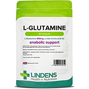 41HESYFOr%2BL. SS300  - Lindens L-Glutamine 500mg Capsules - 90 Pack - Easy to Swallow, Rapid Release Capsule and Convenient Amino Acid Source…
