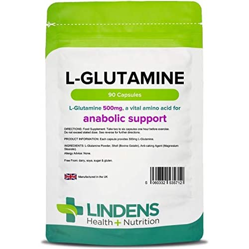 Lindens L-Glutamine 500mg Capsules – 90 Pack – Easy to Swallow, Rapid Release Capsule and...