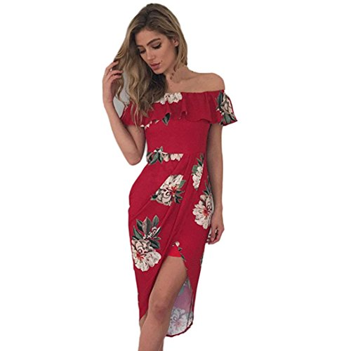Letter Womens Summer Holiday Mini Ladies Beach Print Dress Red