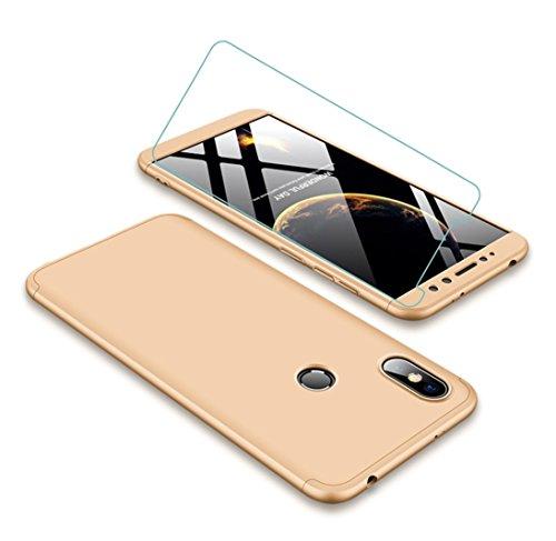 Funda Xiaomi Redmi S2 360 Grados Oro Ultra Delgado Todo Incluido Caja del teléfono de la Protección 3 en 1 PC Case + Protectora de Película de Vidrio Templado JOYTAG-Oro