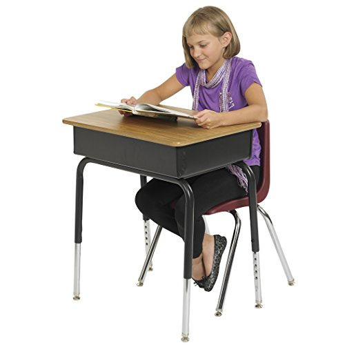 "ECR4Kids 24"" x 18"" Adjustable Open Front Student Desk with Metal Book Box, Oak and Black (2-PacK)"