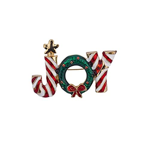 Lux Accessories Christmas Xmas Green White Red Holiday Candy Cane Brooch Pin