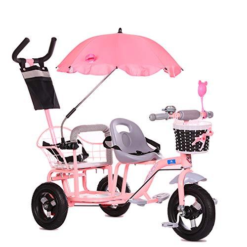 CHEERALL Doppio Triciclo per Bambini Bici, Passeggino gemellare con Pedale Pieghevole, Passeggino Bimbo Estivo Buggy Doppio Sedile per Bambini età 1-6 Anni,Pink