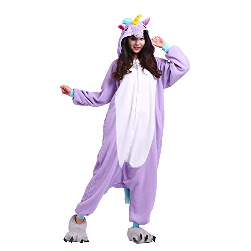 YUWELL Einhorn Pyjamas Kostüm Jumpsuit Tier Schlafanzug Erwachsene Unisex Fasching Cosplay Karneval Unicorn, lila Einhorn M (Height:160-170cm)