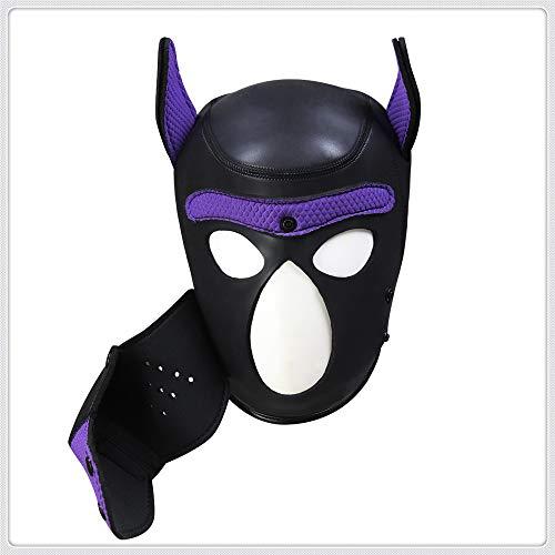 Z-one 1 Hund Latex Tier Vollgesichtsmaske Kapuze Halloween Kost¨¹m (Lila, L)