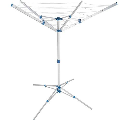 TecTake Aluminium Wäschespinne Wäscheschirm | 4 Tragarme | Stufenlos höhenverstellbar - Diverse Modelle (Typ 2 | Nr. 402720) - Höhe Fuß-unterteil