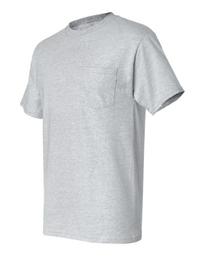 Hanes Men's Beefy-T T-Shirt With Pocket Aschgrau
