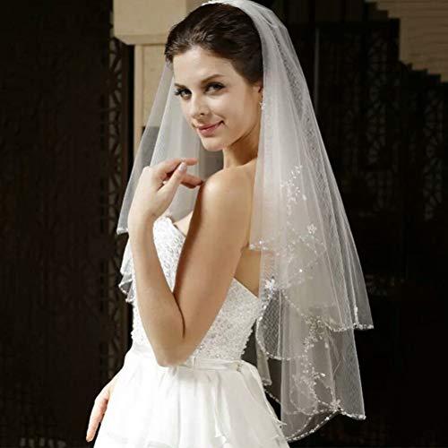 Dabey Einfacher Brautschleier Hochzeitskleid Zubehör 2 Schichten Mode Exquisit Handgemachte Perlen Kurzer Haarschleier Für Party/Anlässe,Ivory,100CM - Perlen Kurz