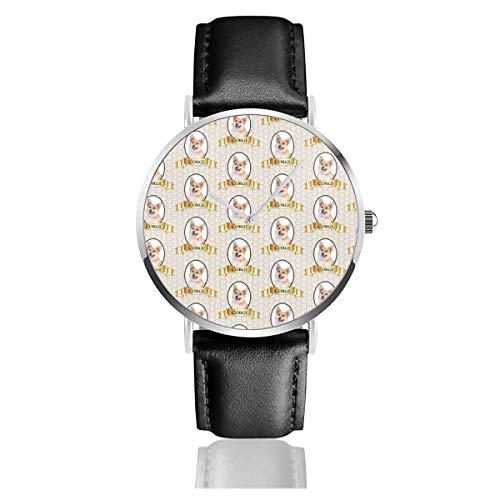 Pembroke Walisische Corgi Armbanduhr Quarzuhr für Männer Frauen Damen mit schwarzem Leder
