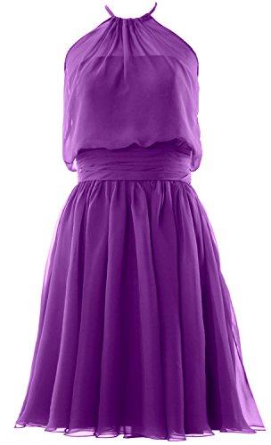 MACloth Women Halter Chiffon Short Bridesmaid Dress Cocktail Formal Party Gown Violett