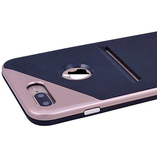 HB-Int Handyhülle für iPhone 7 Plus Hülle Silikon mit Kartenfach Kartenhalter Rot Schutzhülle TPU Bumper Handytasche Pouch Case Rosegold