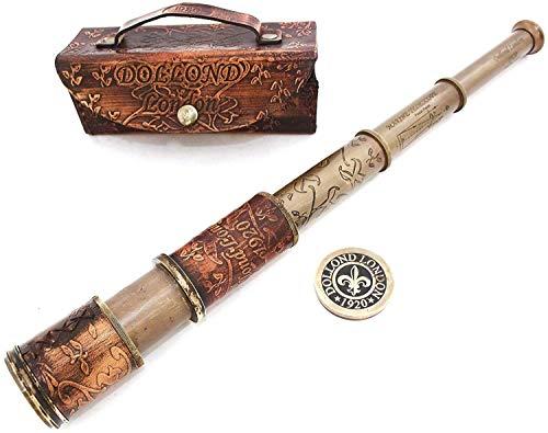 Nautisches Handheld Pirat Messing Teleskop mit Box/Fall, Sailor Home Decor Pirat Captain Boot Spielzeug Geschenk (40,6 cm Dollond)