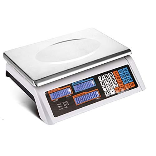 ZCY Elettronico Digitale Calcolo del Prezzo Bilancia A Piattaforma, 30KG \\ 40KG Produrre Scale con Display LCD Retroilluminato, Industriale Pesatura Frutta E Verdura Bilancia (Size : 30KG)