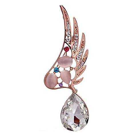 Frau Eine Legierung Brosche Kristall Feder Gehobener Flügel Mode Katzenauge